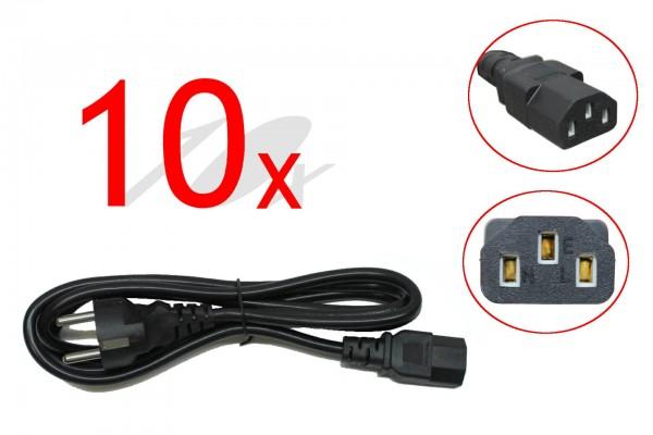 Kaltgerätestecker 10er Pack 1,8m 10A 250V~ PC / Desktop / Display / Bildschirm Stromkabel Eurostecke